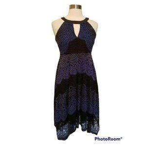 Jessica Simpson Maternity Dress Size Small Blue Black Lace High Low